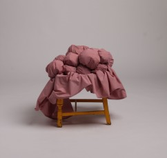 Edith (2018)- Found Chair. Second Hand Valance sheet, Newspaper, Cartlidge Paper, Toy Stuffing, Liquid Latex